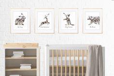 Nursery print set - Cat, Bear, Rabbit and Deer posters