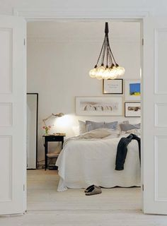 Plain and simple. White and tan. Pendant lamp