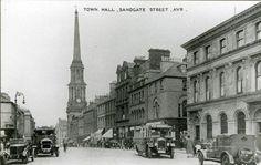 Town Hall, Sandgate Street, Ayr 1930 Old Images, Old Photos, Ayr Scotland, Paisley Scotland, Pub Decor, Arran, Town Hall, Places To Visit, Street View