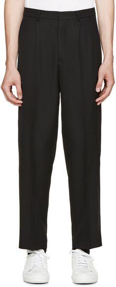 AMI Alexandre Mattiussi - Black Wool Pleated Trousers