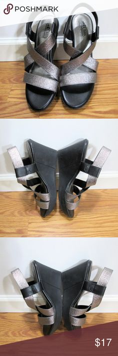 "Cliffs by White Mountain* Strappy Wedges Matte black wedge & silver straps dressy and comfy. Dress them up or down this holiday season! 3.5"" heel height. 1"" platform. EUC - no flaws noted. White Mountain Shoes Wedges"