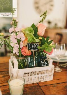 Rustic timber box filled with eclectic bottles and just picked country style blooms. www.jademcintoshflowers.com.au