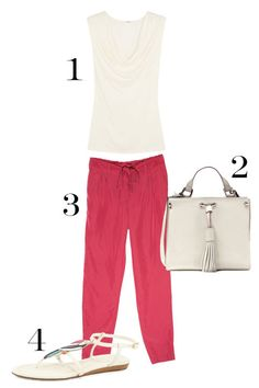 1. Back Label Draped Jersey Top, $150; net-a-porter.com. 2. Zara Leather Bucket Bag with Tassels, $99; zara.com. 3. Old Navy High-Rise Belted Soft Pants, $21.97 (was $32.94); oldnavy.com. 4. Kate Spade New York Toucan Flat Thing Sandal, $175; neimanmarcus.com.
