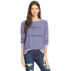 Wildfox 'Baggy Beach Jumper - Happiness' Pullover ($98) ❤ liked on Polyvore featuring tops, sweaters, smokey grape, long sleeve pullover, pullover sweater, long sleeve jumper, long sweaters and baggy sweaters
