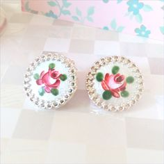"""Shabby Chic Earrings """"rose bud lovely"""" Sterling Silver and Vintage Metal Disks on Etsy, $46.45 CAD"""