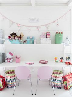pastel kids desk area