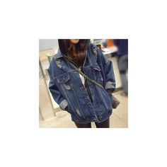 Distressed Denim Jacket (€28) ❤ liked on Polyvore featuring outerwear, jackets, women, light weight jacket, blue denim jacket, distressed jacket, lightweight denim jacket and grunge denim jacket