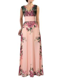 Pink Floral Print V Neck Empire Line Chiffon Maxi Dress - FADCOVER