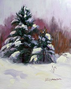 Two Spruce by Susan Renee Lammers Oil ~ 5 x 4