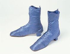 Boots: ca. 1870-1880, English, satin, linen, leather.