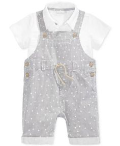 First Impressions Baby Boys' 2-Pc. Geo-Print Striped Shortall & Polo Set, Only at Macy's