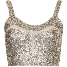 TOPSHOP **Game Plan Bustier by WYLDR (22,010 KRW) ❤ liked on Polyvore featuring tops, crop tops, blusas, topshop, gold, topshop tops, bustier tops, mesh crop top, bustier crop tops and sequin embellished top