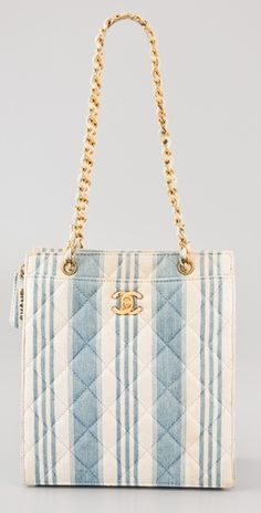 WGACA Vintage: this authentic vintage Chanel denim handbag features quilting and stripes.