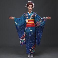 Cheap kimono yukata, Buy Quality japanese women kimono directly from China yukata kimono Suppliers: High Quality Japanese Women Kimono Yukata With Obi Sexy Women's Bar Costume Novetyl Photo Clothing Vintage Prom Dress One Size Kimono Yukata, Blue Kimono, Kimono Outfit, Satin Kimono, Floral Kimono, Vintage Prom, Traditional Japanese Kimono, Traditional Dresses, Japanese Style