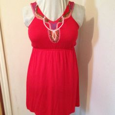 Comfy Summer dress Red with beaded embellishments. Soft fabric. Soprano Dresses Mini