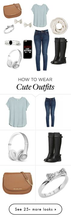 """A cute Sunday outfit. Or could be a regular go to school outfit"" by taylor-sigley on Polyvore featuring MICHAEL Michael Kors, H&M, Casetify, Beats by Dr. Dre, Kate Spade, Kevin Jewelers, women's clothing, women's fashion, women and female"
