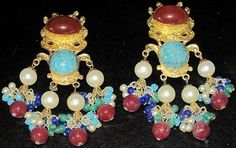 KJL Kenneth J Lane Massive Mogul Jeweled Cabochon Vintage Clip Earrings | eBay