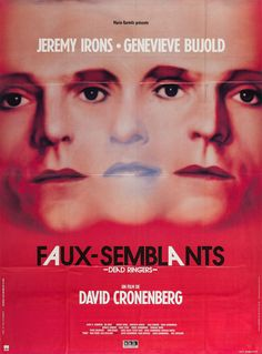 French grande for DEAD RINGERS (David Cronenberg, Canada/USA, 1988)  Designer: unknown  Poster source: Heritage Auctions  See DEAD RINGERS on 35mm tonight at the Quad Cinema in New York as part of their Beguiling Bujold series.