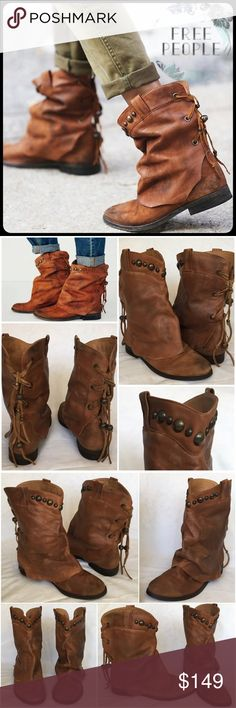 """Free People Wayland Boot in Brown (Tan) Leather 38 Wayland Boot Distressed leather ankle boots with embellished overlay, featuring stud embellishments and free-spirited suede lace-up detailing along the back. Pull-tabs at topline.  *By Free People *Leather *Made in Portugal Heel: 1"""" = 2.54 cm 