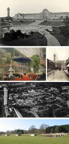 The Crystal Palace, London  Destroyed by fire in 1936.  The grassy site of Crystal Palace is evident today.