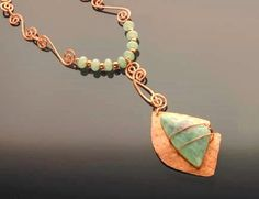 Etched COPPER and lovely pale green stone by andreaswhimsies
