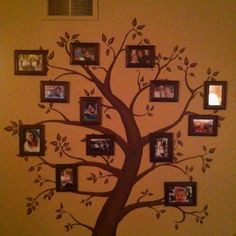 Make a family tree by painting a tree on an open wall and then putting pictures of your family throughout the tree! This turned out so amazing! Such a fun way to display our family!