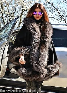 2015 MILANO silver fox fourrure cashmere poncho classe vison zibeline manteau renard veste saga