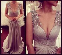 robe de soiree 2015 A-Line sexy v-neck luxury beaded cap sleeve court train satin formal dresses long party dress vestidos longo(China (Mainland))