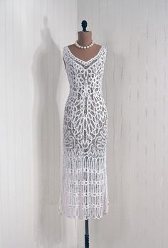 """I have never seen a """"flapper"""" style dress in white before - this one was designed as a wedding dress"""