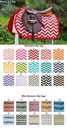 MADE TO ORDER Zig Zag Prints Saddle Pad Many by PaddedPonies