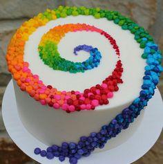 Swirl candy birthday cake