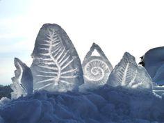 'Fougères de neige' (2010) by French land artist Alain Bernegger. Land art installation. via the artist's site, art majeur