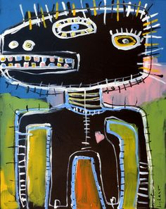 original HUGHART outsider punk art Basquiat inspired funky painting FANCY PANTS #OutsiderArt