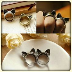 Cute cat ears ring. Cute cat ears bronze ring. Measure 1.6 cm. Size 7. My price is firm. Jewelry Rings