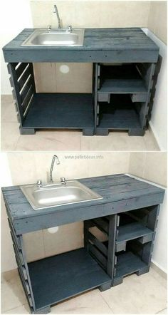 Household Things To Make Yourself With Wooden Pallets wood pallets sink plan Diy Pallet Furniture, Diy Pallet Projects, Wood Projects, Kitchen Furniture, Pallet Ideas, Furniture Ideas, Pallet Couch, Pallet Diy Decor, Diy Pallet Kitchen Ideas