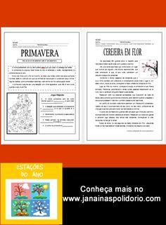 15 páginas de atividades prontas para imprimir e usar. Confira: http://www.janainaspolidorio.com/estacoes-do-ano.html