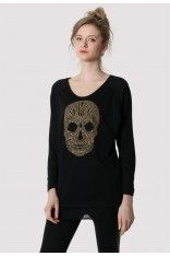 #ChicWish  Studded Sequins Skull Top in Black