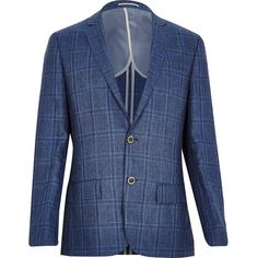 River Island Blue check linen-blend slim blazer ($61) ❤ liked on Polyvore featuring mens, men's clothing, sportcoats, blue and sale