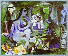 Pablo Picasso Déjeuner sur l'herbe (Luncheon on the Grass) after Manet 1961 Oil on canvas. Picasso Art, Cubist, Printmaking, Painter, Drawings, Painting, Art, Abstract, Manet