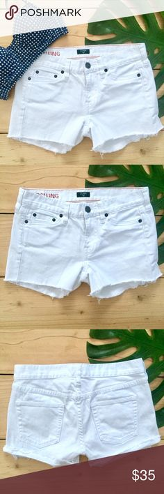 J.Crew Hipslung Stretch White Denim Cutoff Shorts Size 26. Versatile white denim cutoff shorts with a slight stretch. These can be worn cuffed or uncuffed. They are in Perfect Condition! J. Crew Shorts Jean Shorts