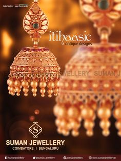 Exquisite itihassic jewellery collection inspired by temple art and culture. Explore these classic pieces of art jewelleries that will remain timeless at Suman jewellery Indian Gold Jewellery Design, 1 Gram Gold Jewellery, Antique Jewellery Designs, Temple Jewellery, Antique Jewelry, Gold Jewelry, Gold Jhumka Earrings, Jewelry Design Earrings, Gold Earrings Designs