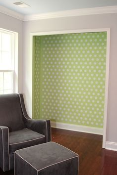 Polka Dots | the lil house that could, taking doors off of closet in small room, adding interesting wall design makes room feel larger!!!
