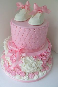 Baby Booties, Buttons & Bows Baby Shower Cake