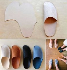 Moldes Moda por Medida: MOLDE DE CHINELO FÁCIL DE FAZER=My 2 cents==> I suggest using a heavy fleece, and cut the sole piece (only) from pigskin (from Tandy Leather). Sewing Hacks, Sewing Tutorials, Sewing Patterns, Craft Patterns, Fabric Crafts, Sewing Crafts, Sewing Projects, Shoe Pattern, Creation Couture
