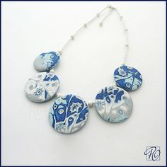 Winter Fantasy Handmade Polymer Clay Necklace