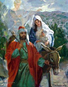 Jesus, Joseph and Mary - The journey to Egypt. Religious Pictures, Bible Pictures, Jesus Pictures, Catholic Art, Religious Art, Biblical Art, Mary And Jesus, Holy Mary, Holy Family