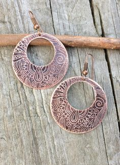 Ethnic Earrings, Boho Jewelry, Etched Copper Hoops
