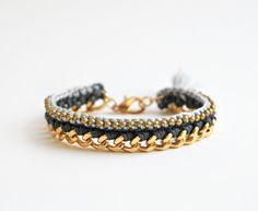 crochet bracelet with chunky chain