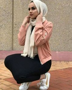 Pink bomber jacket with hijab-Fashion winter coats and jackets with hijab – Just Trendy Girls