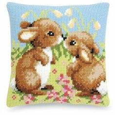 Bunny Friends Pillow Top - Cross Stitch, Needlepoint, Stitchery, and Embroidery Kits, Projects, and Needlecraft Tools | Stitchery